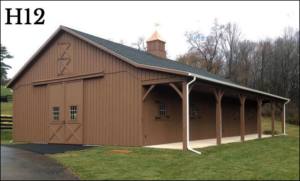 custom horse barn h12