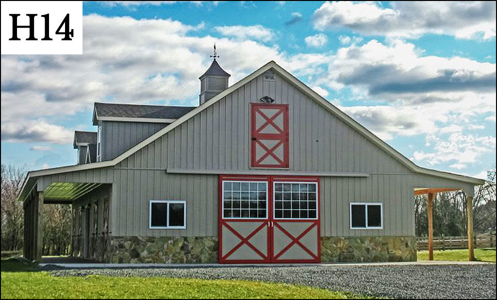 custom horse barn h14