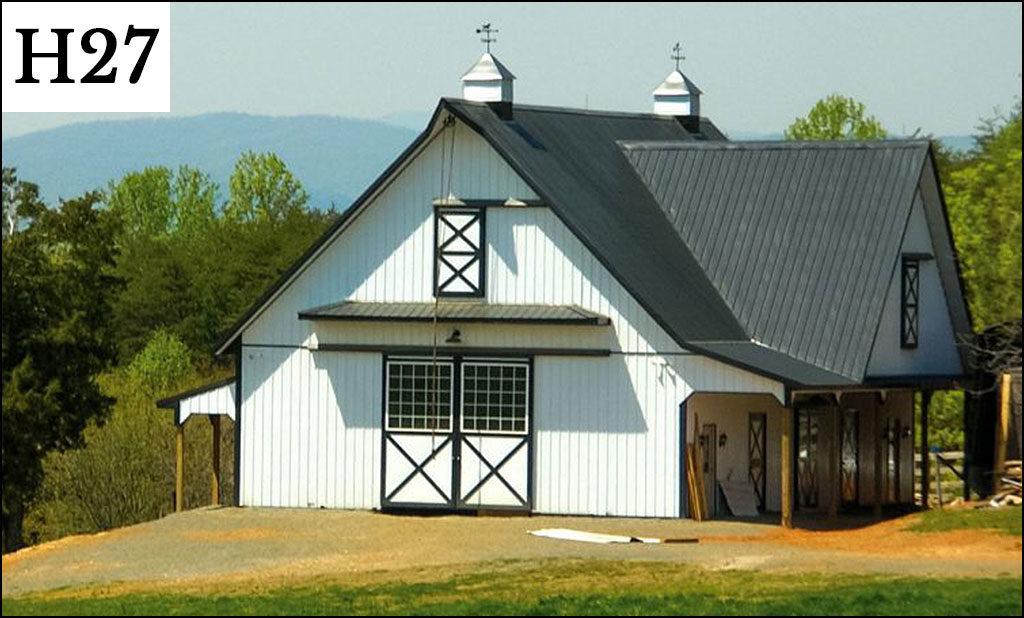custom horse barn h27