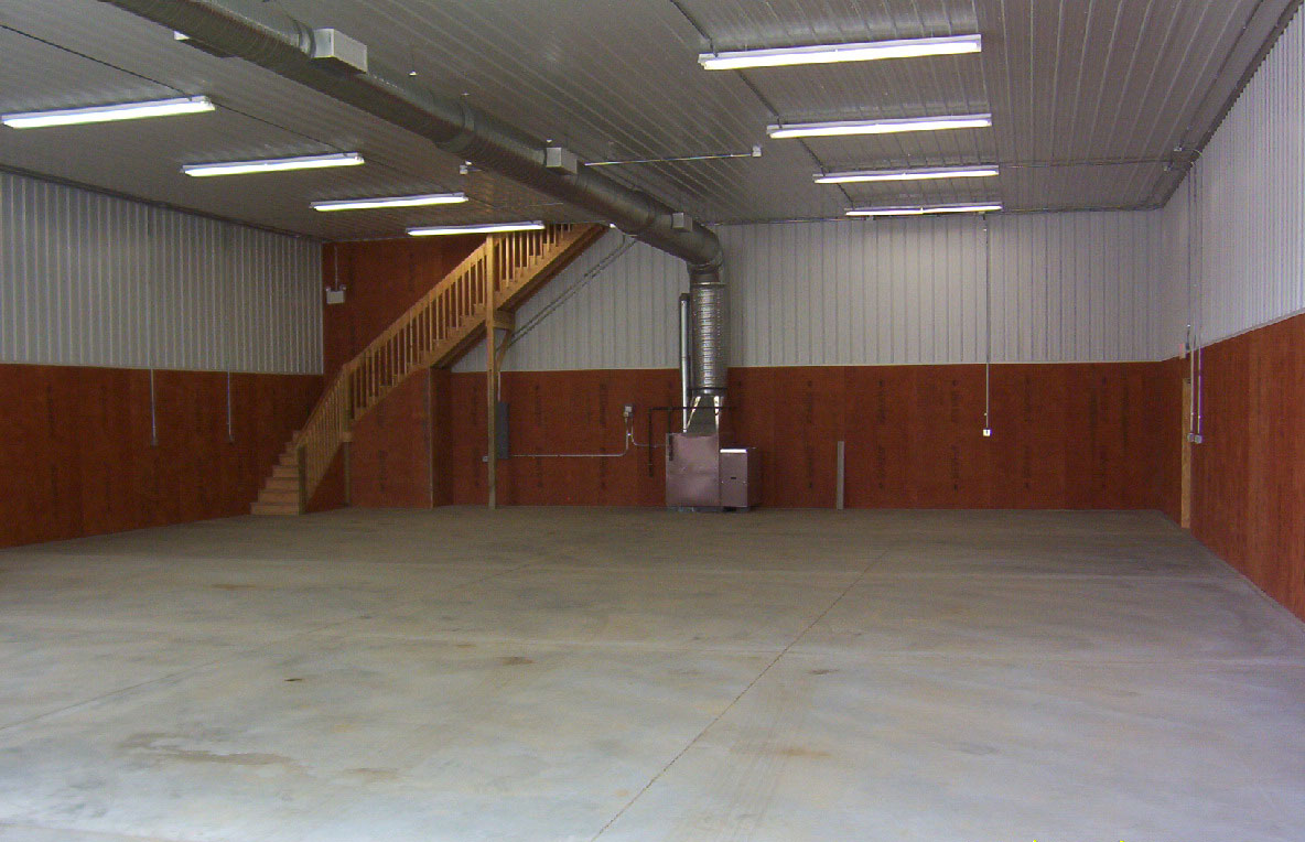 Pole barn interior finishes conestoga buildings for Pole barn interior designs