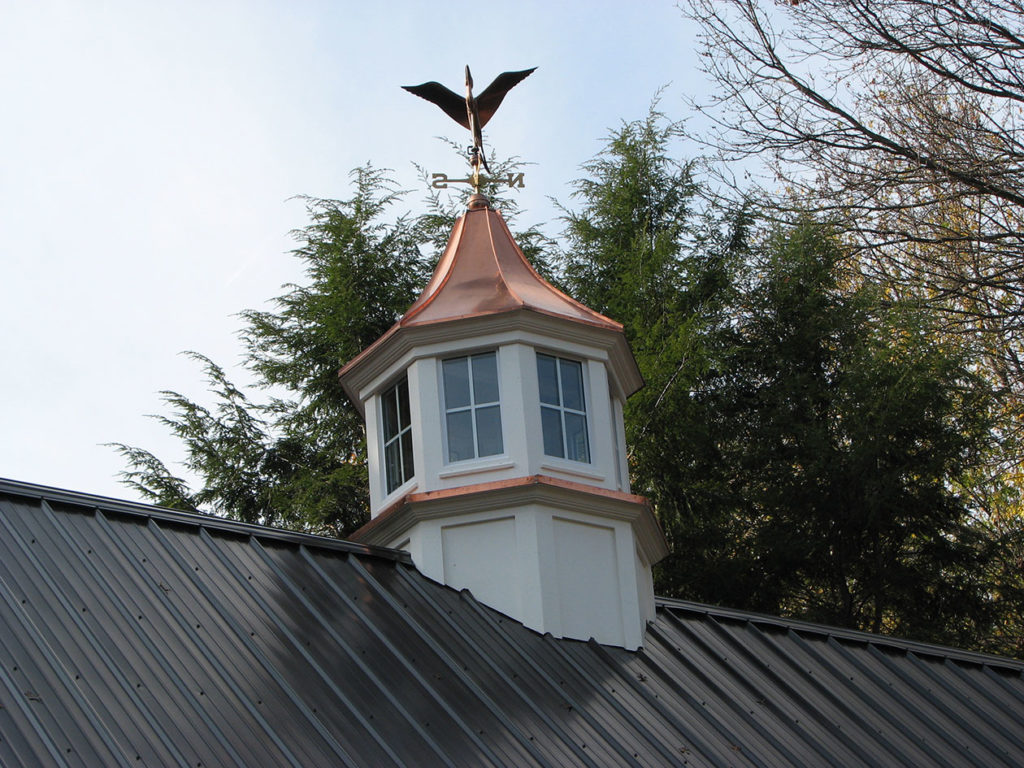copper cupola on pole barn