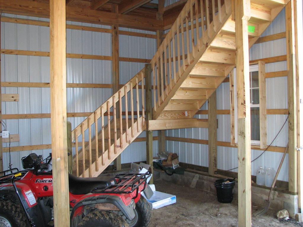 finished agricultural post frame building interior