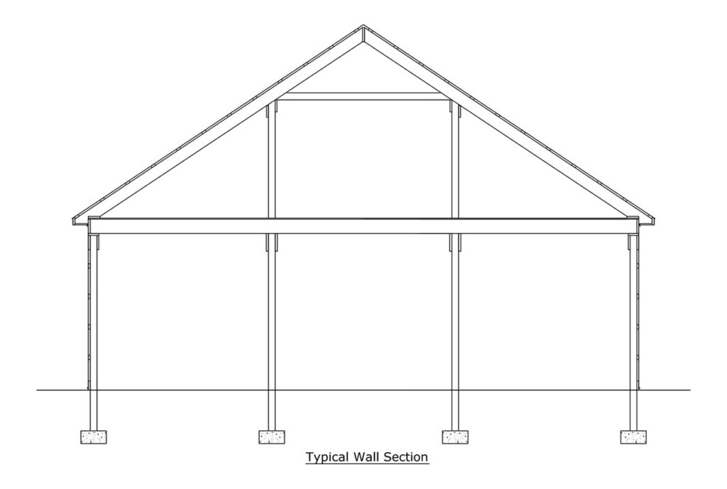 cross section of post frame building
