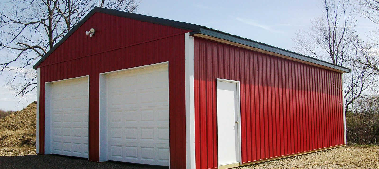 red post frame garage